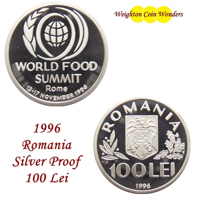 1996 Romania 100 Lei Silver Proof Coin - World Food Summit